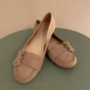 🎃 Anne Klein Taupe Printed Bow Loafer Flats
